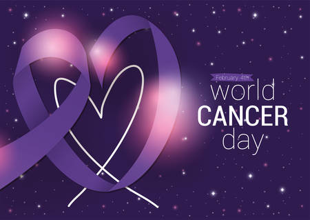 Purple heart ribbon design, World cancer day february four awareness campaign disease prevention and foundation theme Vector illustration