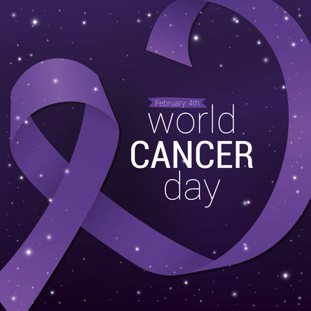 Purple ribbon design, World cancer day february four awareness campaign disease prevention and foundation theme Vector illustration