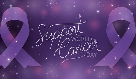 Purple ribbon and support text design, World cancer day february four awareness campaign disease prevention and foundation theme Vector illustration