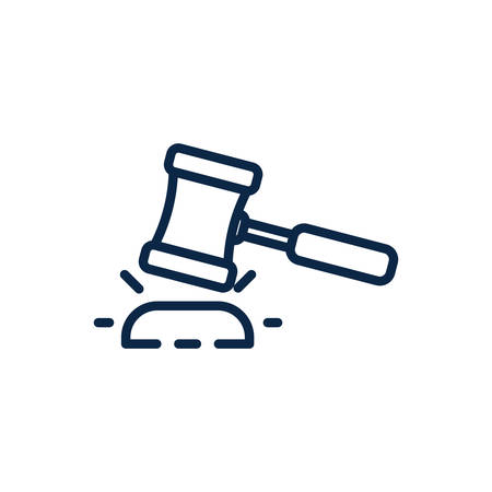 Law hammer design, Justice legal judgment judical authority freedom veridict attorney and crime theme Vector illustration