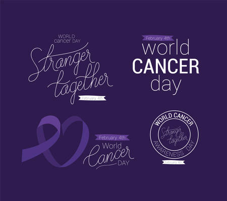 Purple ribbon stronger together and support text design, World cancer day february four awareness campaign disease prevention and foundation theme Vector illustration Illustration
