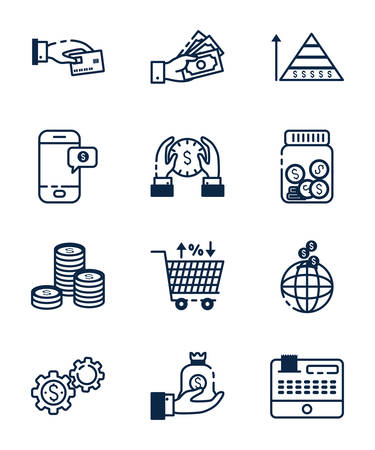 Icon set of money financial item banking commerce market payment buy currency accounting and invest theme Vector illustration