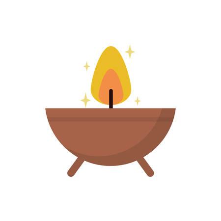 Candle bowl design, Fire flame candlelight light spirituality burn and decoration theme Vector illustration Ilustração