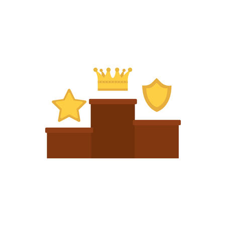 Podium with gold star crown and shield design, Winner first position competition success sport best leadership compete and challenge theme Vector illustration