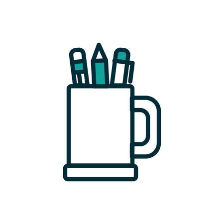 Pens inside mug design, Tool write office object instrument equipment draw art and learn theme Vector illustration