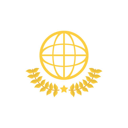 Gold global sphere with leaves wreath design, Winner first position competition success sport best leadership compete and challenge theme Vector illustration 일러스트