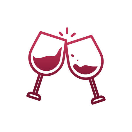Wine cups design of Winery alcohol drink beverage restaurant celebration and party theme Vector illustration