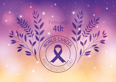 Purple ribbon and leaves design, World cancer day february four awareness campaign disease prevention and foundation theme Vector illustration Ilustrace