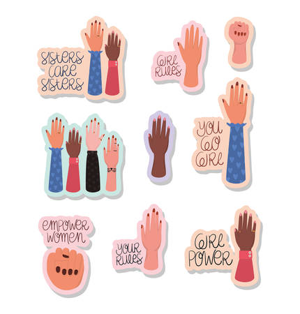 Hands and texts stickers set design of Women empowerment female power feminist people gender feminism young rights protest and strong theme Vector illustration