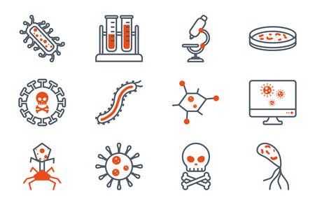 Black and orange virus icon set design, Bacterium organism molecule microbe cell disease illness health medical and infection theme Vector illustration Stock Illustratie