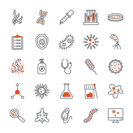 Black and orange virus icon set design, Bacterium organism molecule microbe cell disease illness health medical and infection theme Vector illustration Ilustracja