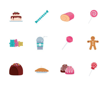 Sweet food icon set design, dessert delicious sugar snack and tasty theme Vector illustration Illusztráció