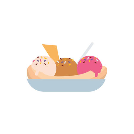 Bananas ice cream design, Sweet dessert food flavor scoop summer dairy and tasty Vector illustration