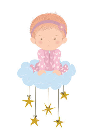 Cute baby girl over cloud and stars design, Child newborn childhood kid innocence and little theme Vector illustration