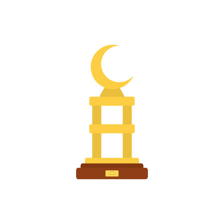 Gold moon trophy design, Winner first position competition success sport best leadership compete and challenge theme Vector illustration