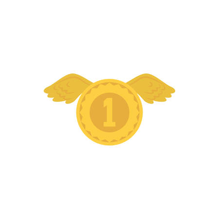 Gold coin with wings design, Winner first position competition success sport best leadership compete and challenge theme Vector illustration