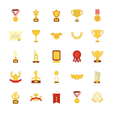 Gold icon set design, Winner first position competition success sport best leadership compete and challenge theme Vector illustration
