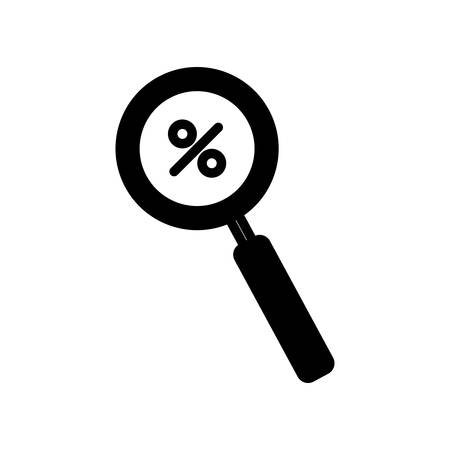 percentage inside lupe silhouette style icon of money financial item banking commerce market payment buy currency accounting and invest theme Vector illustration