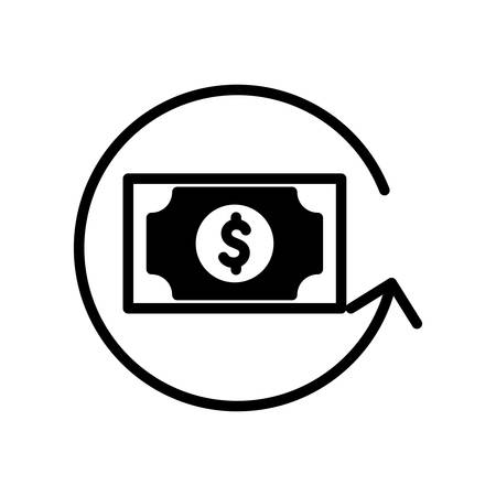 bill silhouette style icon of money financial item banking commerce market payment buy currency accounting and invest theme Vector illustration