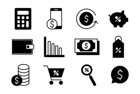 silhouette style icon set of money financial item banking commerce market payment buy currency accounting and invest theme Vector illustration