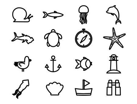 silhouette style icon set design Sea life ecosystem fauna ocean underwater water nature marine tropical theme Vector illustration