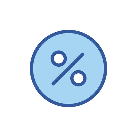 percentage circle line and fill style icon of money financial item banking commerce market payment buy currency accounting and invest theme Vector illustration