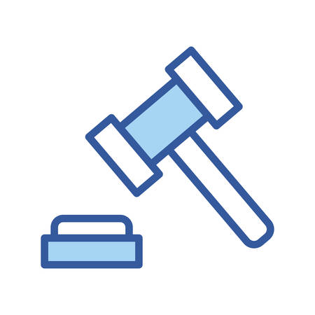 Law hammer line and fill style icon design, Justice legal judgment judical authority freedom veridict attorney and crime theme Vector illustration Ilustrace