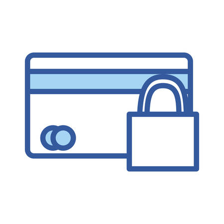 credit card and padlock line and fill style icon of money financial item banking commerce market payment buy currency accounting and invest theme Vector illustration