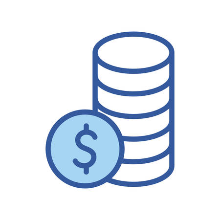 Coins line and fill style icon of money financial item banking commerce market payment buy currency accounting and invest theme Vector illustration