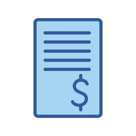 document line and fill style icon of money financial item banking commerce market payment buy currency accounting and invest theme Vector illustration