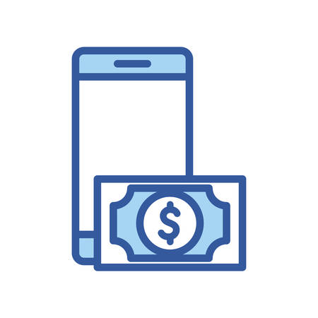 bill and smartphone line and fill style icon of money financial item banking commerce market payment buy currency accounting and invest theme Vector illustration 向量圖像