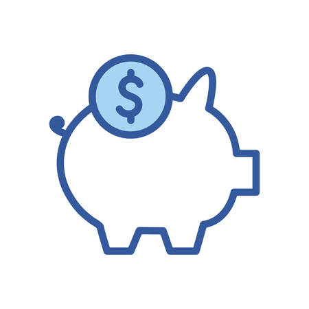 piggy and coin line and fill style icon of money financial item banking commerce market payment buy currency accounting and invest theme Vector illustration