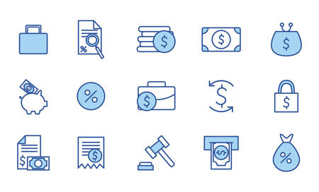 line and fill style icon set of money financial item banking commerce market payment buy currency accounting and invest theme Vector illustration