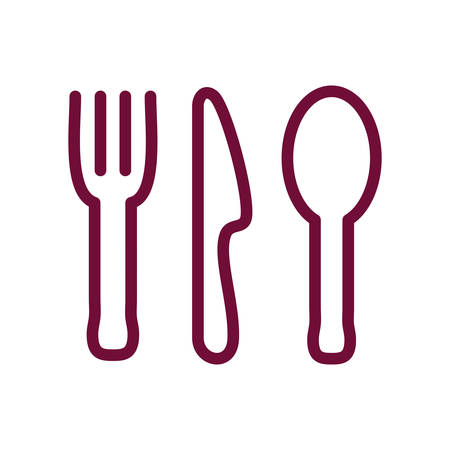 Cutlery line style icon design, Cook kitchen Eat food restaurant home menu dinner lunch cooking and meal theme Vector illustration