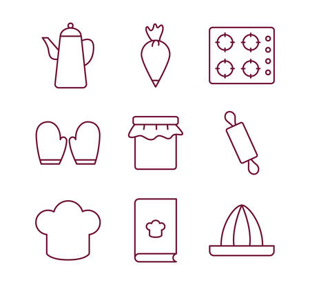 line style icon set design, Cook kitchen Eat food restaurant home menu dinner lunch cooking and meal theme Vector illustration