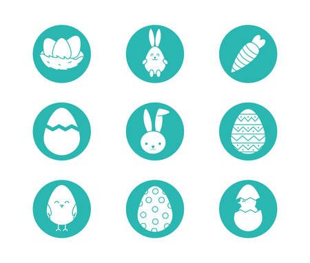 Happy easter block style icon set design, Spring decoration holiday greeting ornament celebration festive season tradition and festival theme Vector illustration