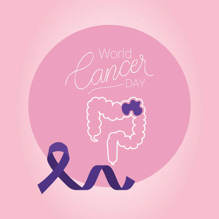 large intestine and purple ribbon design, World cancer day february four awareness campaign disease prevention and foundation theme Vector illustration