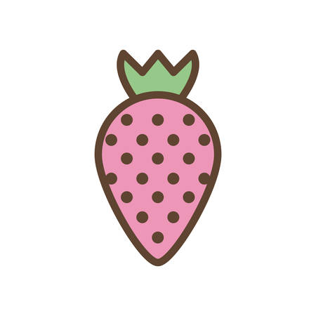 strawberry line and fill style icon design, Fruit healthy organic food sweet and nature theme Vector illustration