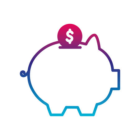 pig and coin gradient line style icon of money financial item banking commerce market payment buy currency accounting and invest theme Vector illustration