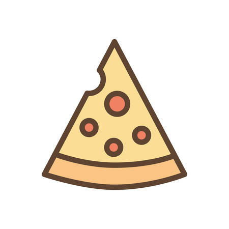 pizza line and fill style icon design, Eat food restaurant menu dinner lunch cooking and meal theme Vector illustration Ilustracja