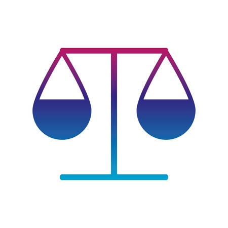 Law scale gradient line style icon design, Justice legal judgment judical authority freedom veridict attorney and crime theme Vector illustration