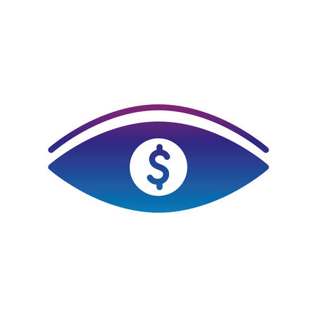 dollar eye gradient line style icon of money financial item banking commerce market payment buy currency accounting and invest theme Vector illustration