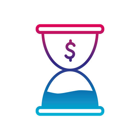 dollar sand hourglass gradient line style icon of money financial item banking commerce market payment buy currency accounting and invest theme Vector illustration Ilustracja