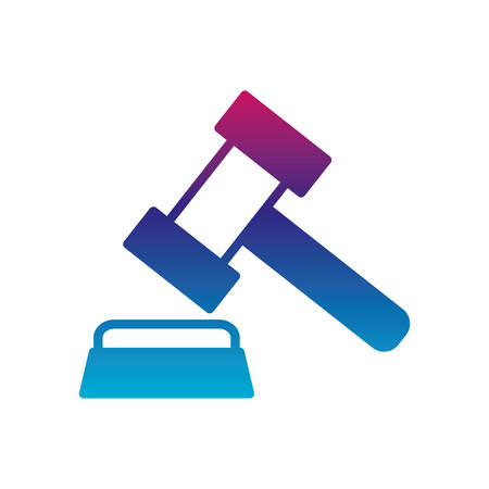 Law hammer gradient line style icon design, Justice legal judgment judical authority freedom veridict attorney and crime theme Vector illustration Ilustrace
