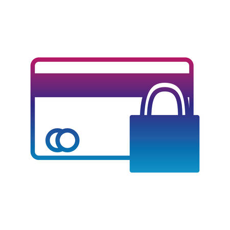 credit card and padlock gradient line style icon of money financial item banking commerce market payment buy currency accounting and invest theme Vector illustration