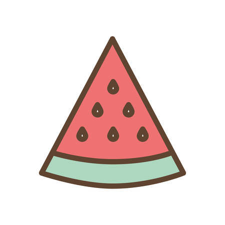 watermelon line and fill style icon design, Fruit healthy organic food sweet and nature theme Vector illustration