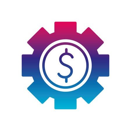 dollar gear gradient line style icon of money financial item banking commerce market payment buy currency accounting and invest theme Vector illustration Ilustracja