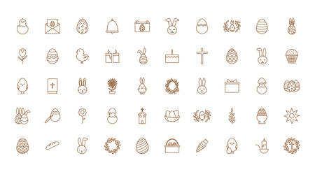 Happy easter line style icon set design, Spring decoration holiday greeting ornament celebration festive season tradition and festival theme Vector illustration