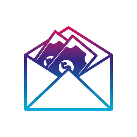 bills inside envelope gradient line style icon of money financial item banking commerce market payment buy currency accounting and invest theme Vector illustration