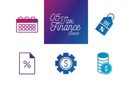 5 gradient line style icon set of tax finance money financial item banking commerce market payment buy currency accounting and invest theme Vector illustration Ilustracja